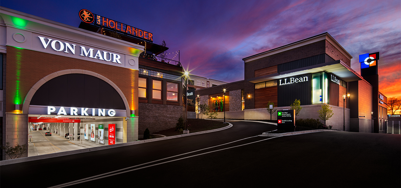 Von Maur and L.L. Bean stores by Tri-North Builders at the Corners of Brookfield project.
