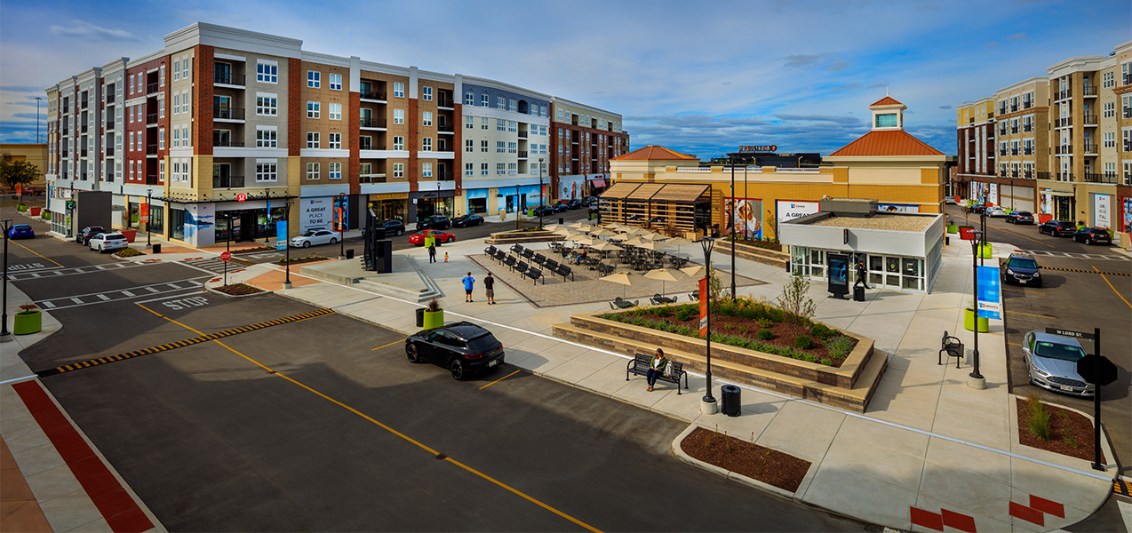 Condo units and courtyard in the Corners of Brookfield mall construction project by Tri-North Builders.