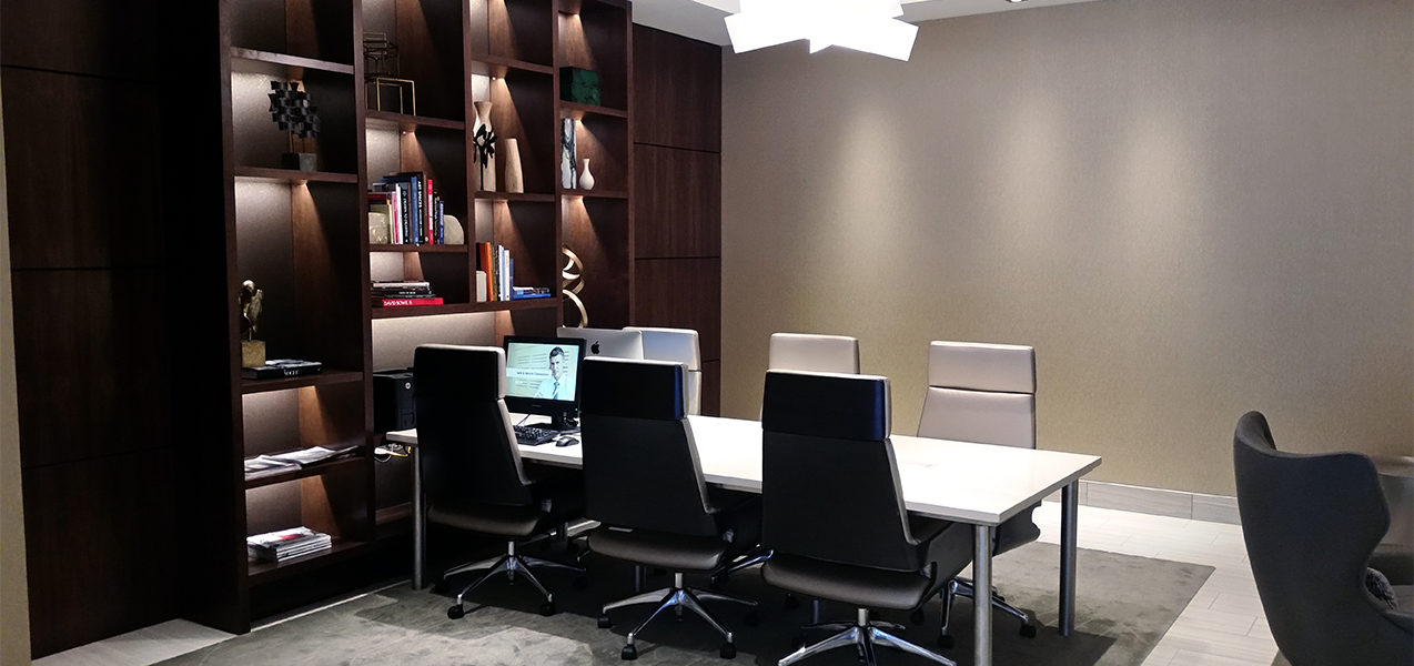 Business meeting room at the Tri-North Builders remodeled AC Hotel Chicago, IL.