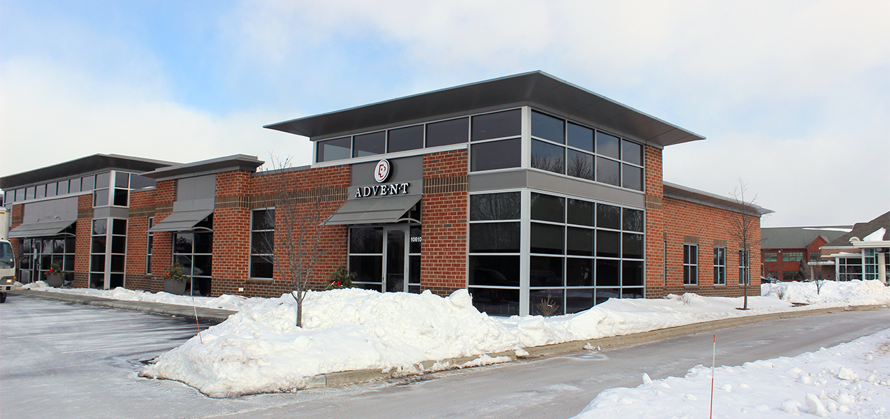 Front, side, and parking lot of the Advent health care building which was built by Tri-North Builders.