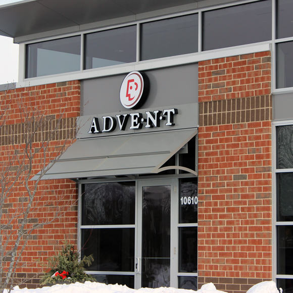 Front entrance and sign for the Avent Health building, a Tri-North Builders project in Mequon, WI.