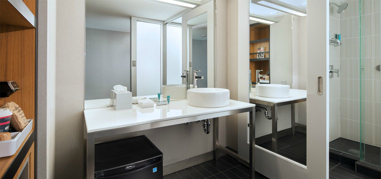 Remodeled bathroom inside the Aloft San Francisco Airport hotel as constructed by Tri-North Builders.