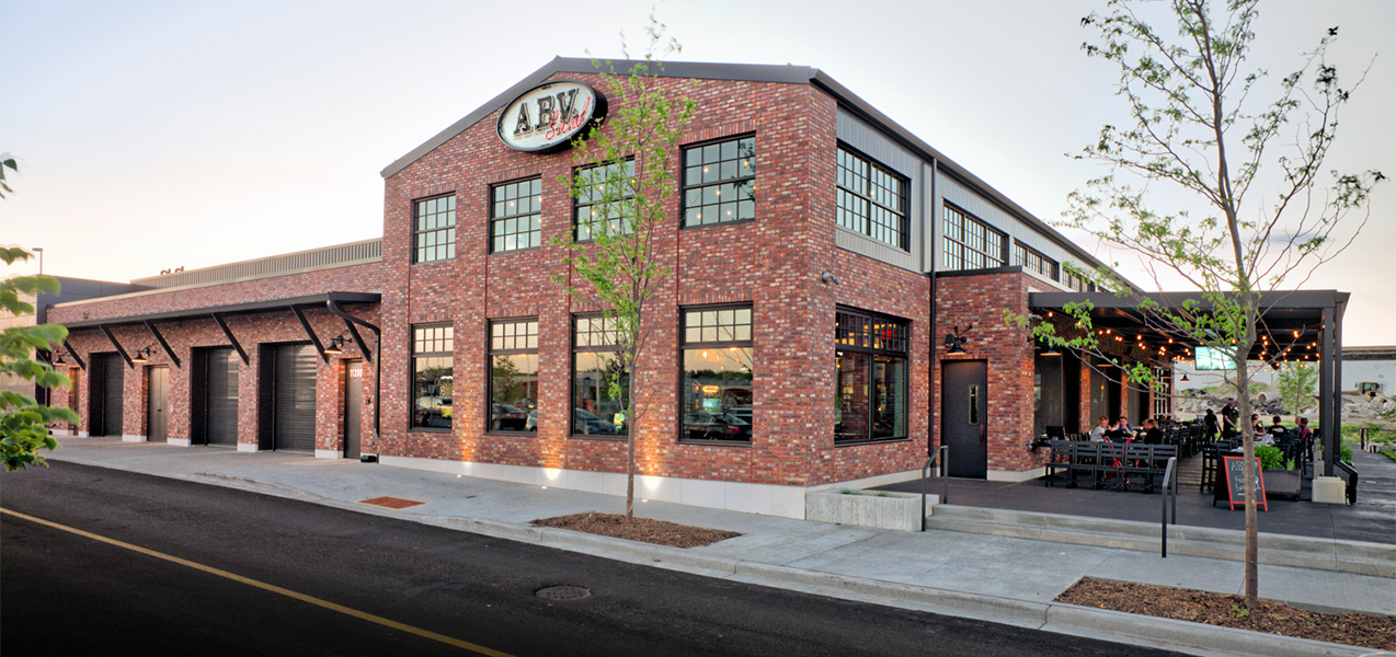 ABV Social restaurant from the Bartolotta Collection front of building built by Tri-North Builders in Wauwatosa, WI.