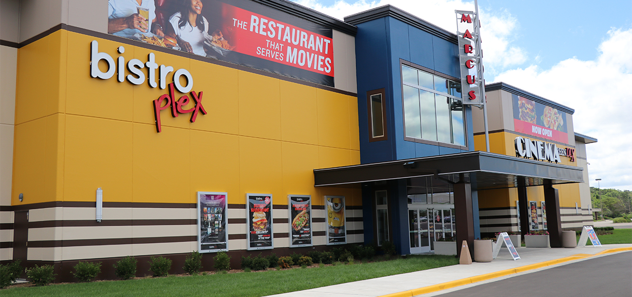 Front entrance of the Bistroplex Southridge movie theater in Greendale, WI, with yellow and blue paint by Tri-North Builders