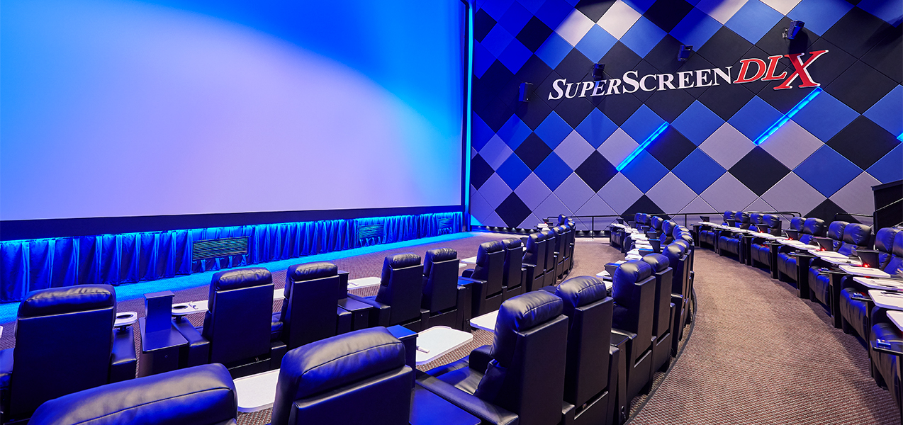 Interior of screening room built by Tri-North Builders at the Bistroplex Southridge movie theater.