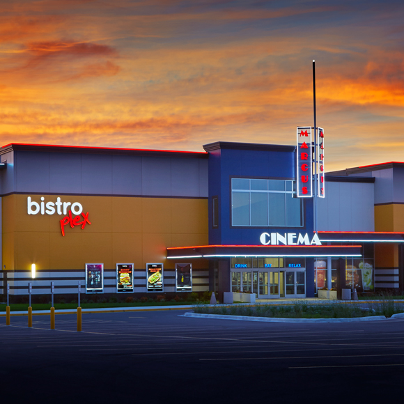 Front entrance and sign of Bistroplex Southridge theaters in Greendale, WI, built by Tri-North Builders.