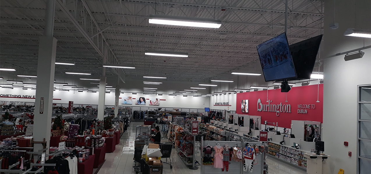 A view from high up shows multiple departments of the Burlington store.