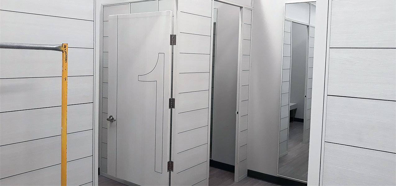 A Burlington store built by Tri-North features crisp white dressing rooms.