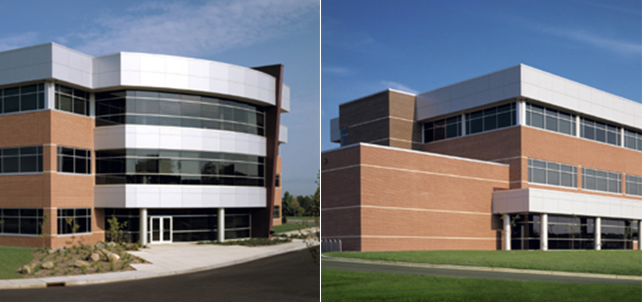 Two photos showing front and side of the Charter Communications Building in Wisconsin a Tri-North Builders project.