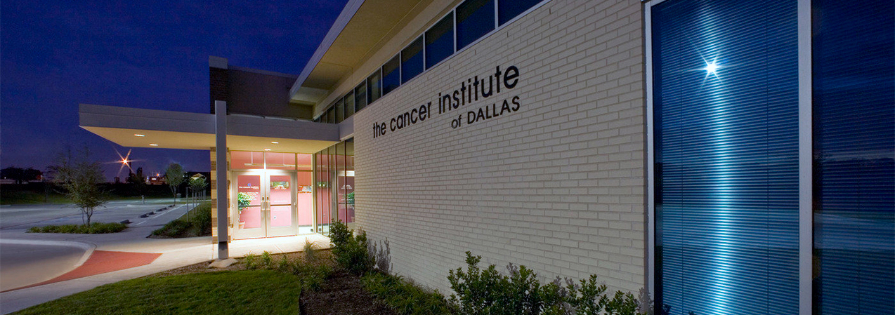 Front entrance, door and parking lot of The Cancer Institute of Dallas which was a Tri-North Builders project in Texas.