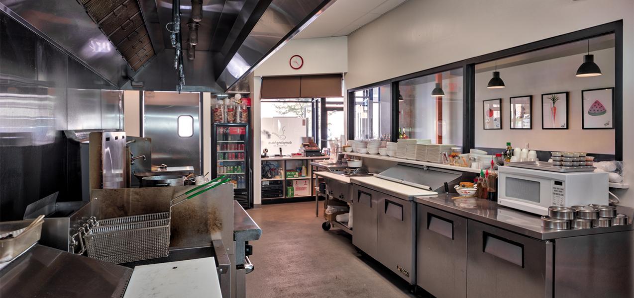 Dumpling Haus restaurant kitchen from Tri-North Builder's construction project.