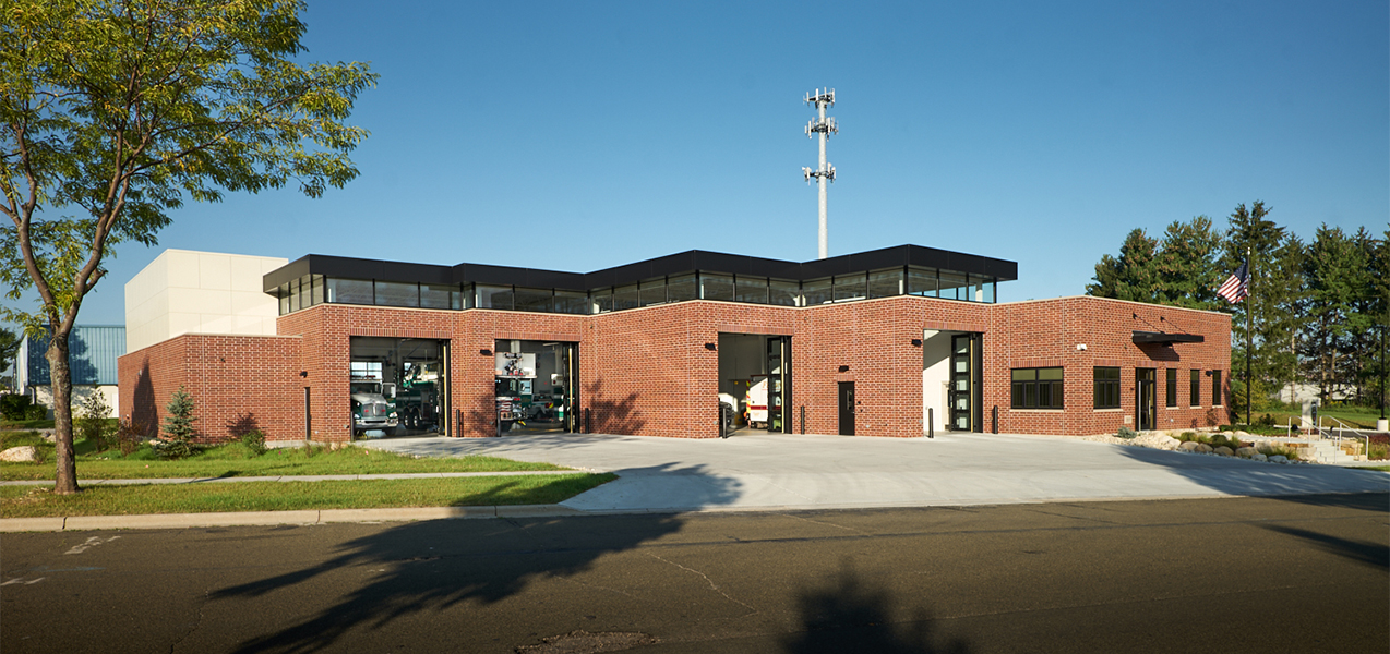 Exterior of the Tri-North construction project Fitchburg, WI, fire station.