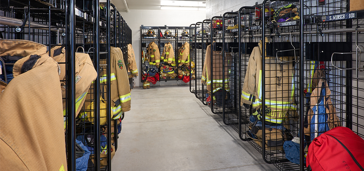 Fitchburg, WI, fire station locker room and firemen's jackets.
