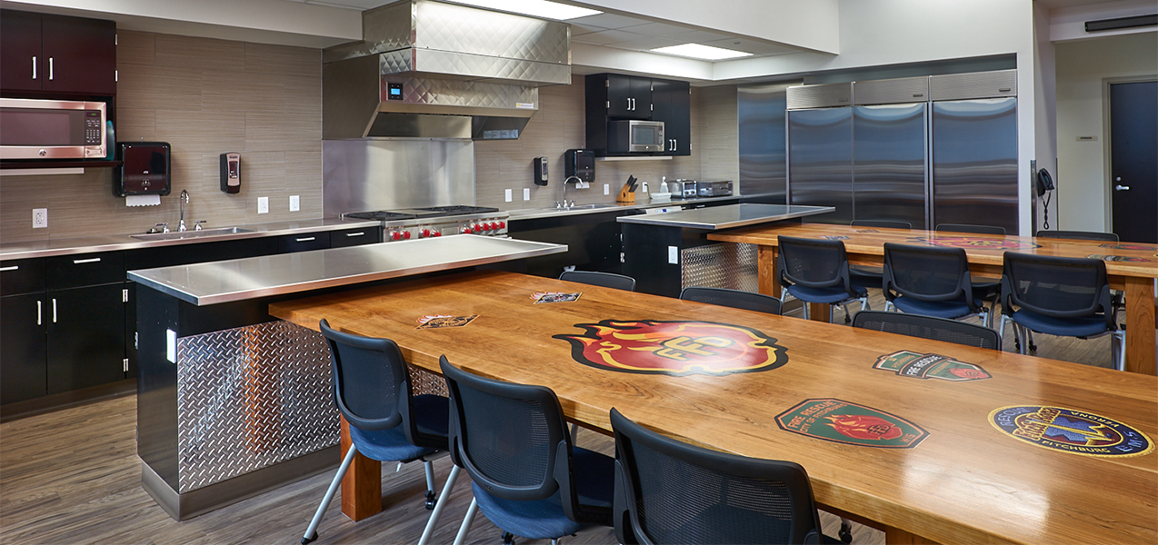 Fire department in Fitchburg, WI, lunch room and kitchen area.
