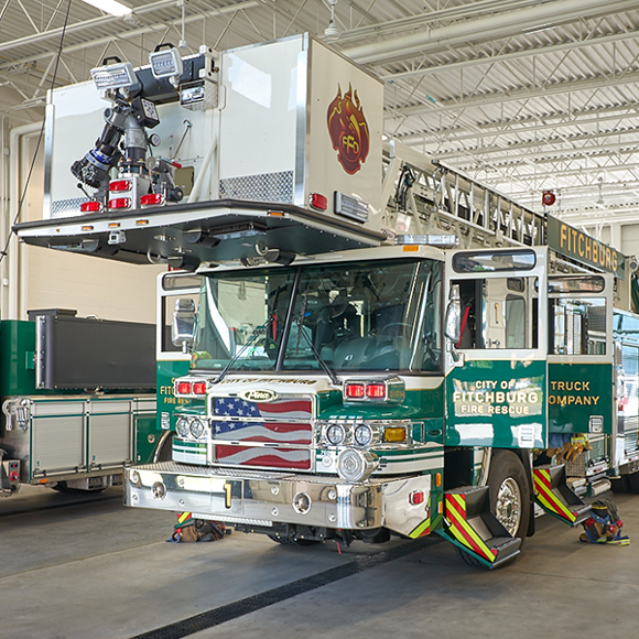 Fitchburg Fire Department Fire Engine in the garage at the Tri-North Builders remodeled station.