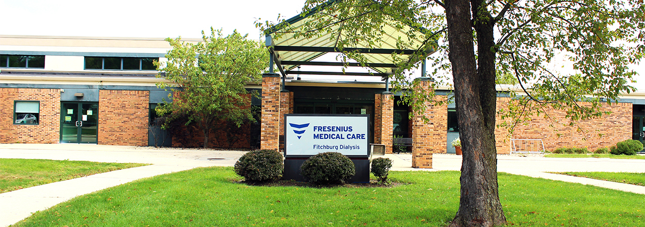 Front entrance and front of building at the Tri-North Builders project for Fresenius Kidney Care center.