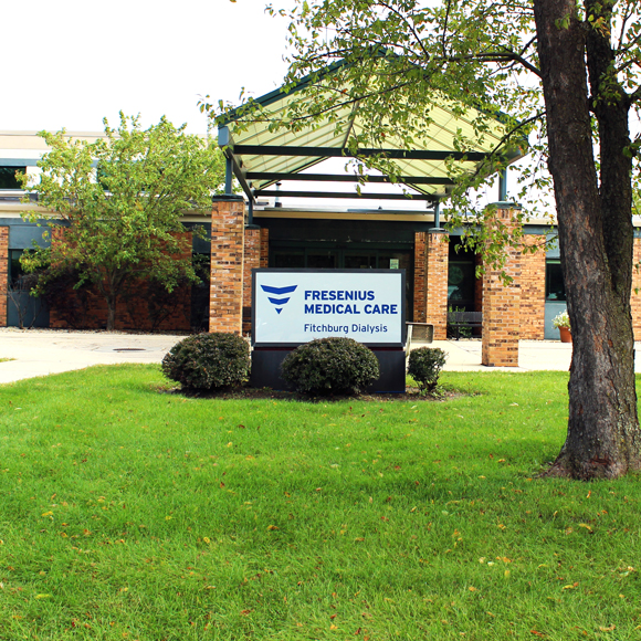 Front entrance and sign for the Fresenius Kidney Care center building in Woodridge, IL, a Tri-North Builders project.