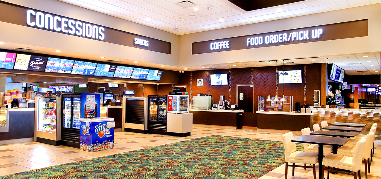 Concession stand and drink machines inside Fridley Palms movie theater complex which is a Tri-North Builders project.