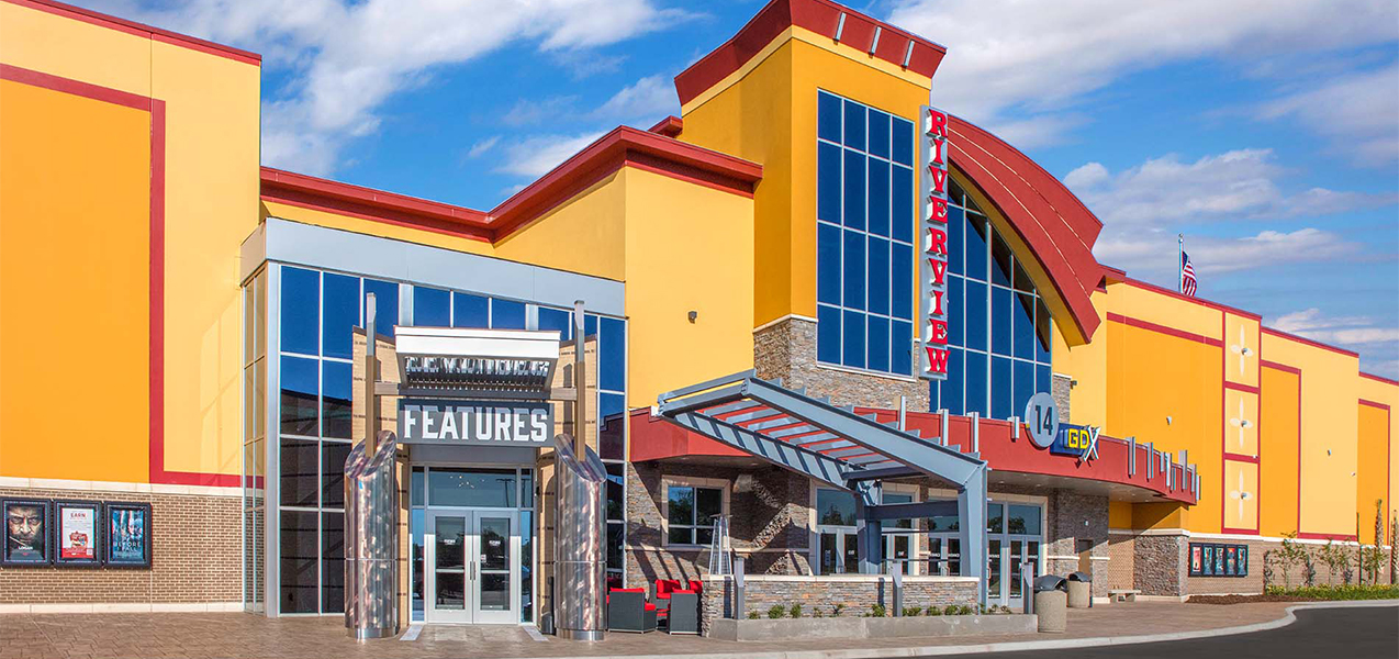 Front of building at the Tri-North Builders project for the GQT Riverview movie theater in Florida.