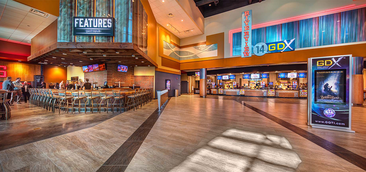 Lobby area, concession stand and dining room inside the Tri-North Builders project at GQT Riverview movie theater.