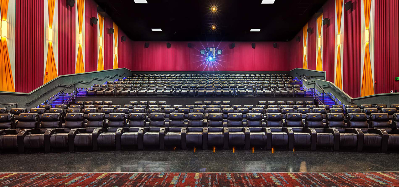 Tri-North Builders remodeled movie theater stadium seating at GQT Riverview movie complex in Florida.