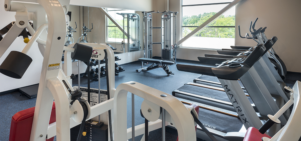Tri-North Builders remodeled fitness center with treadmills and equipment at the Galaxie condominiums.