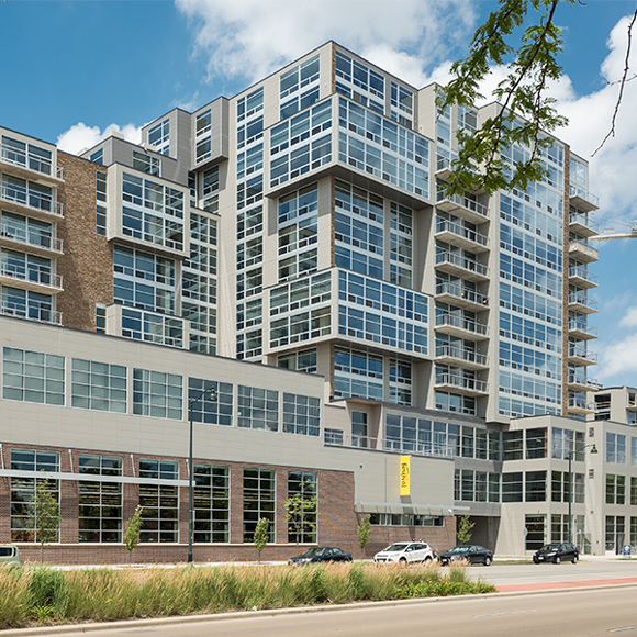 Full front of building at the Galaxie high rise condominium complex project by Tri-North Builders.