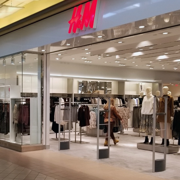 A customer shops near the entrance of an H&M clothing store built by Tri-North.