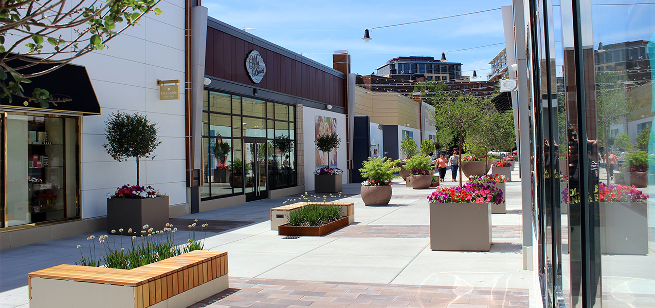 More stores and outdoor space, including plants at the Hilldale outdoor mall in Madison, WI.