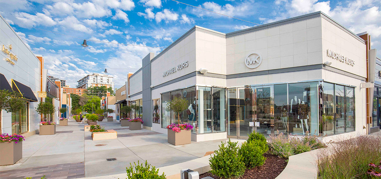 Michael Kors clothing store, outdoor planters, walkways for the Hilldale mall in Madison, WI, built by Tri-North Builders