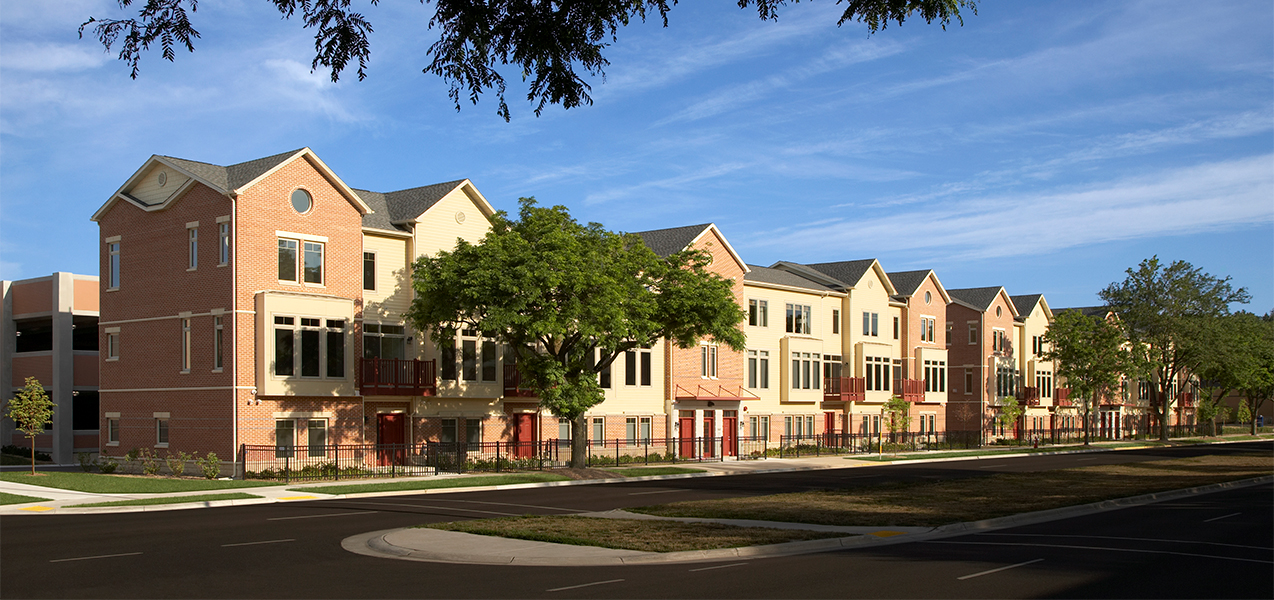 Condominiums as part of the Hilldale mall and condo complex in Madison, WI, built by Tri-North Builders.