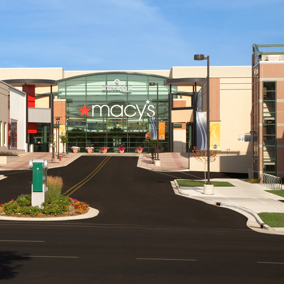 Entrance to the Hilldale mall complex showing the Macy's store in Madison, WI.