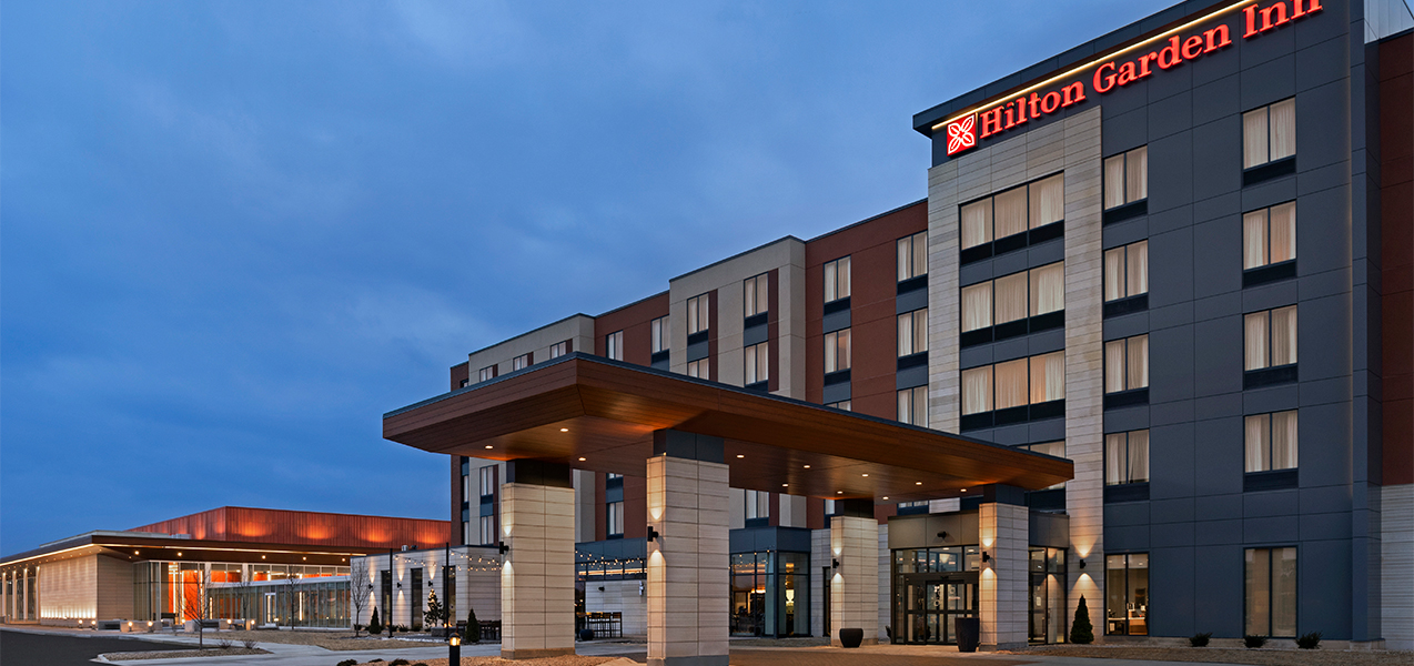 Front of the building at the Tri-North Builders project at the Hilton Garden Inn and Conference Center in Brookfield, WI.