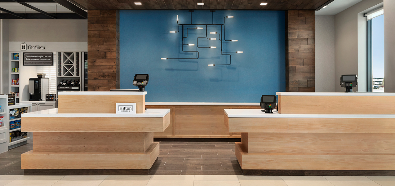 Front desk at the Hilton Gardn Inn in Brookfield, WI, near Milwaukee which is a Tri-North Builders project.