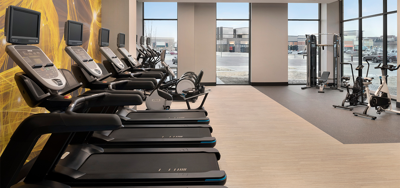 Tri-North Builders remodeled fitness center with treadmills inside the Hilton Garden Inn located in Brookfield, WI.