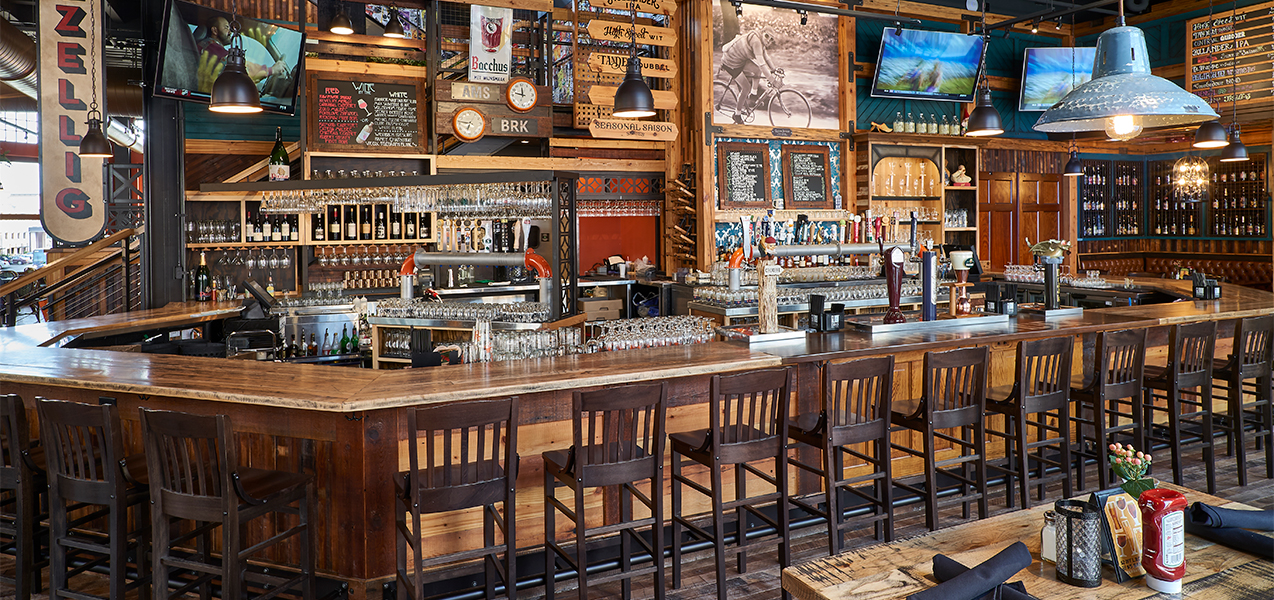 Remodeled bar interior built by Tri-North Builders inside Cafe Hollander restaurant.