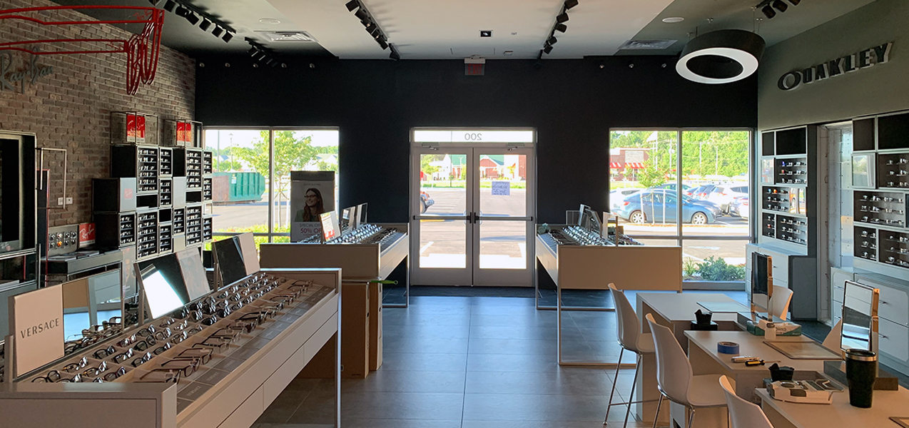 Customers can try on glasses at get fitted for frames at this LensCrafters retail location, a Tri-North project.