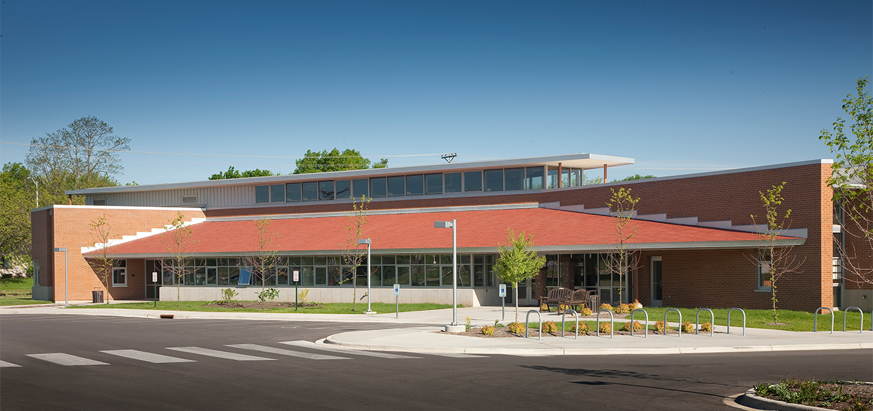 Front windows and entrance of Lussier Community Education Center in Wisconsin.