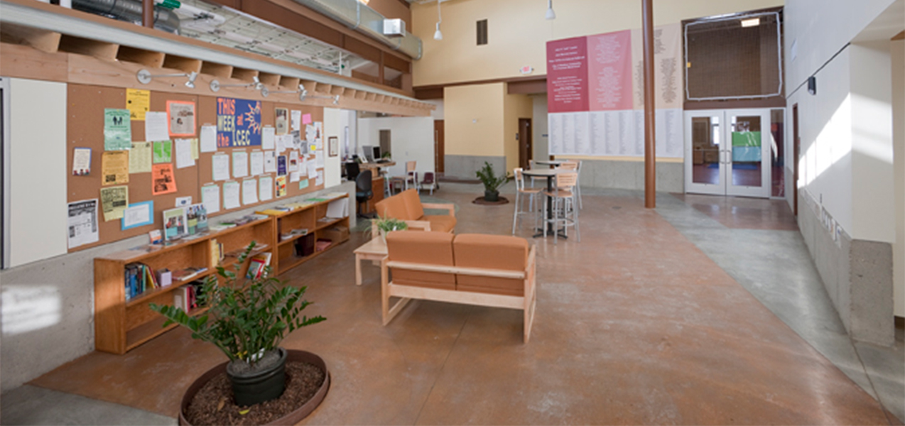 Interior sitting area of the Lussier Community Education Center in Wisconsin.