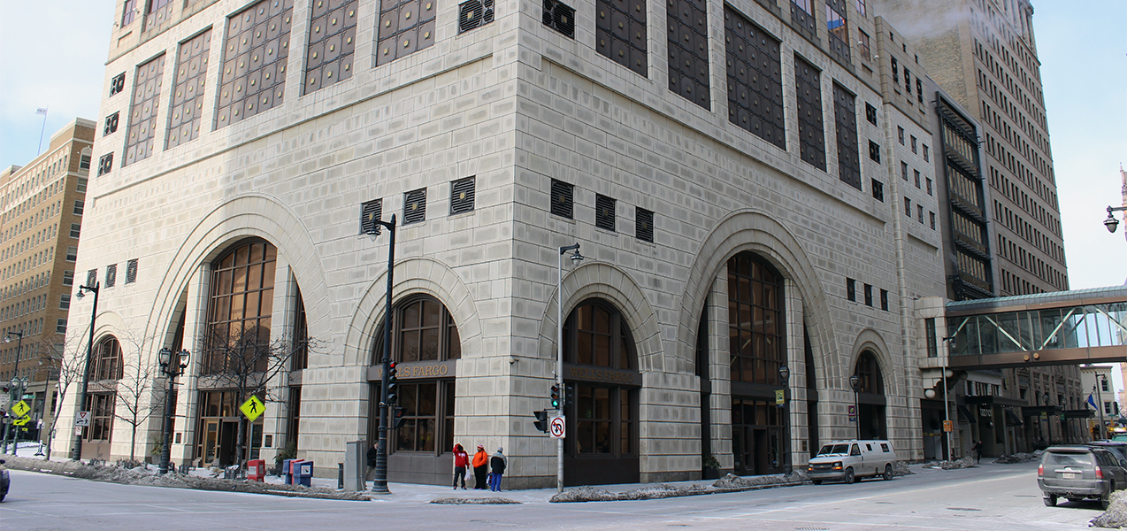 Two sides of the Marcus Corporation Headquarters building in downtown Milwaukee, WI, remodeled by Tri-North Builders.