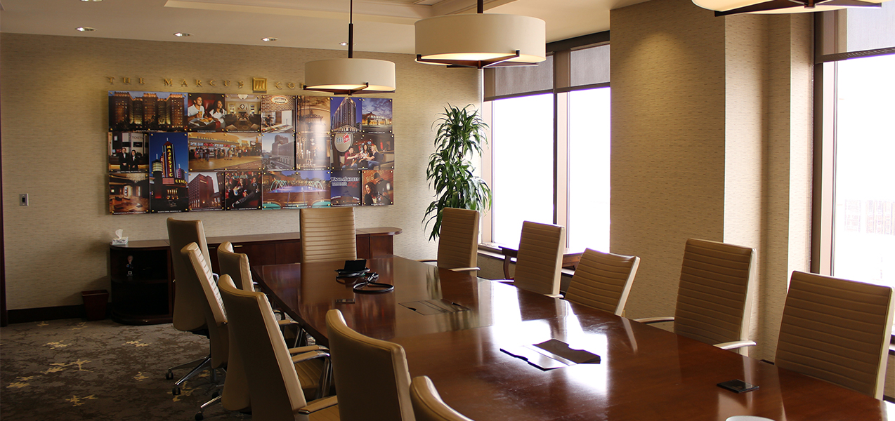 Remodeled conference room by Tri-North Builders in Milwaukee, WI, as the Marcus Corporate HQ building.