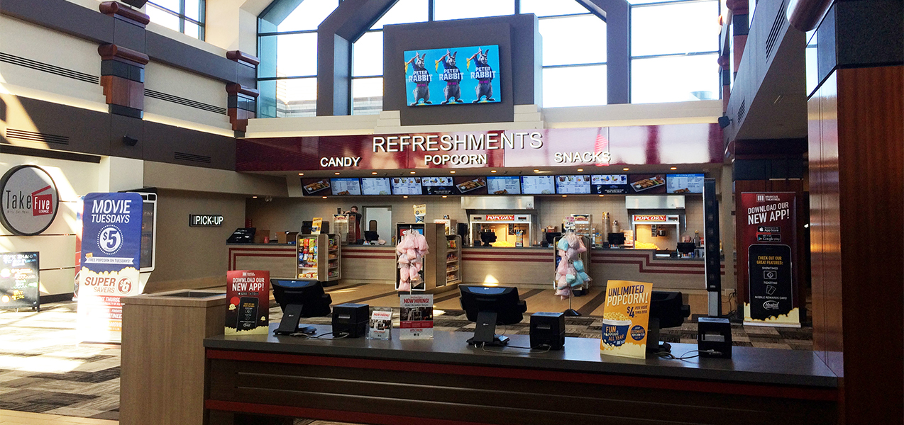 Concession stand and ticketing area for Tri-North Builder's O'Fallon Marcus Cinema project.
