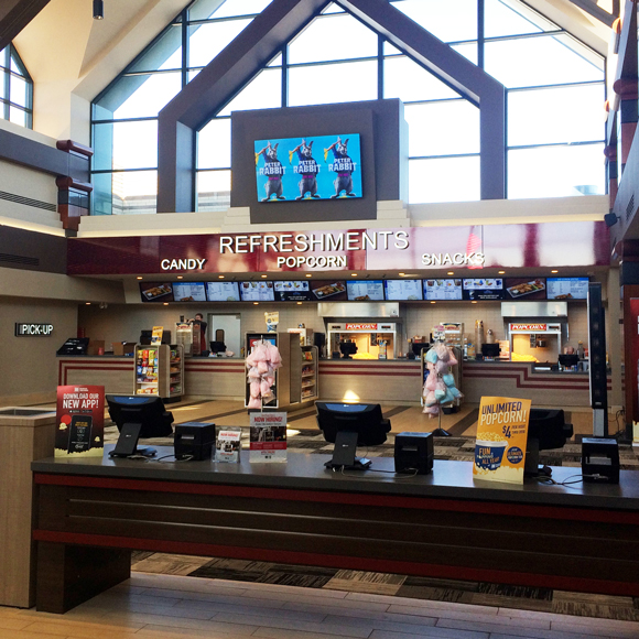 Concession stand inside the O'Fallon, IL, Marcus Cinema movie theater, a Tri-North Builders construction project.