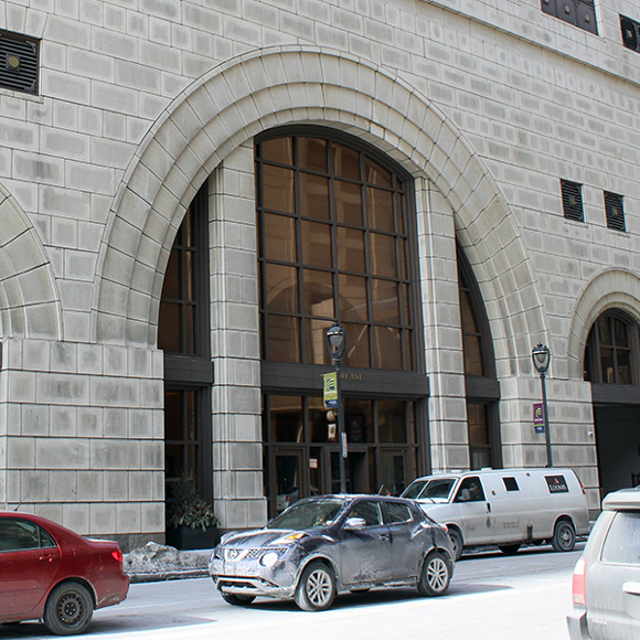 Front door of the Tri-North Builders project at the Marcus Corporation Headquarters in Milwaukee, WI.