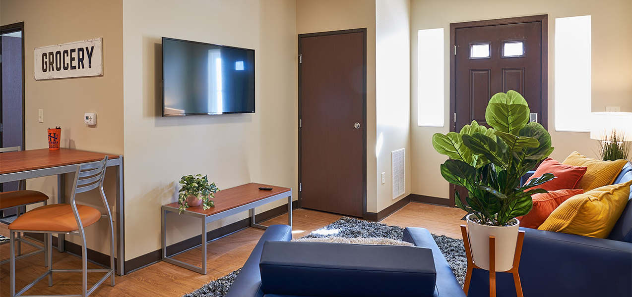 Interior or student housing unit remodeled by Tri-North Builders inside the Newman Heights building in Platteville, WI.