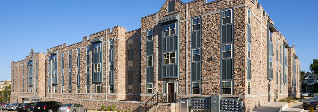 Full building for Newman Heights student housing in Platteville, WI, which was a Tri-North Builders project.