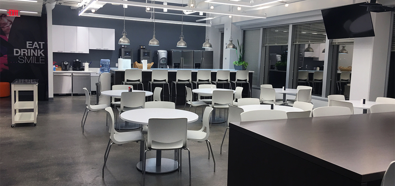 The NICE office, built by Tri-North, houses an open cafeteria for employees.