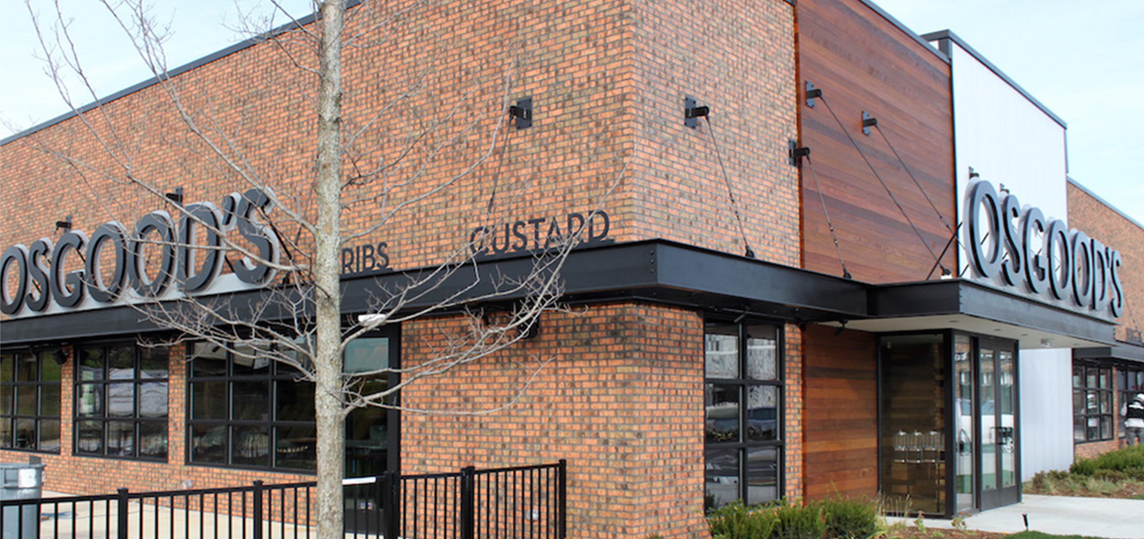 Front and side of building for Osgood's restaurant as built by Tri-North Builders.