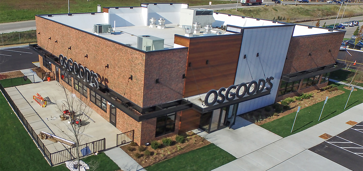 Aerial photo of Osgood's Restaurant with patio and parking lot in Wisconsin
