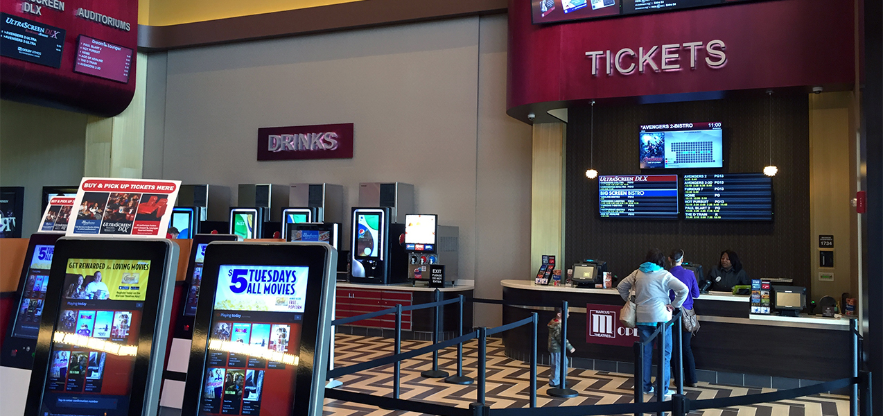 Ticketing area for the Palace Cinema, remodeled by Tri-North Builders construction company.